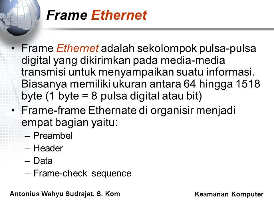 Antonius Wahyu Sudrajat, S. Kom Keamanan Komputer Frame Ethernet Frame Ethernet adalah sekolompok pulsa-pulsa digital yang dikirimkan pada media-media
