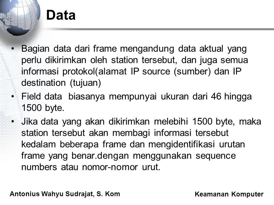 Antonius Wahyu Sudrajat, S. Kom Keamanan Komputer Data Bagian data dari frame mengandung data aktual yang perlu dikirimkan oleh station tersebut, dan