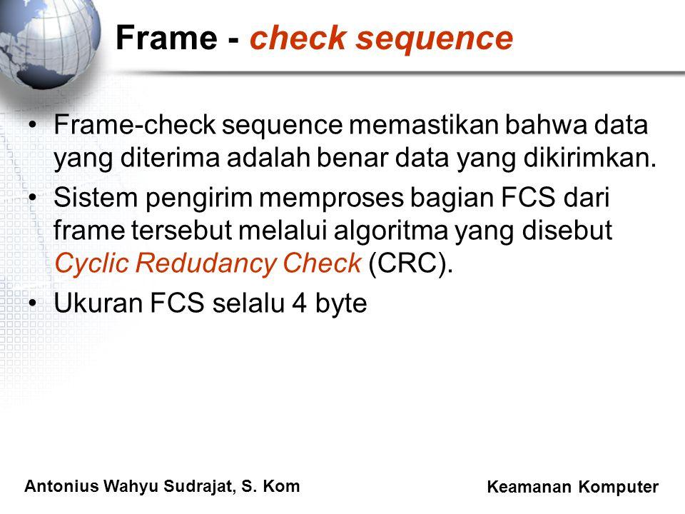 Antonius Wahyu Sudrajat, S. Kom Keamanan Komputer Frame - check sequence Frame-check sequence memastikan bahwa data yang diterima adalah benar data ya