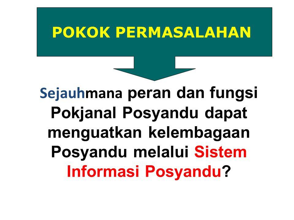 Sejauhmana peran dan fungsi Pokjanal Posyandu dapat menguatkan kelembagaan Posyandu melalui Sistem Informasi Posyandu? POKOK PERMASALAHAN