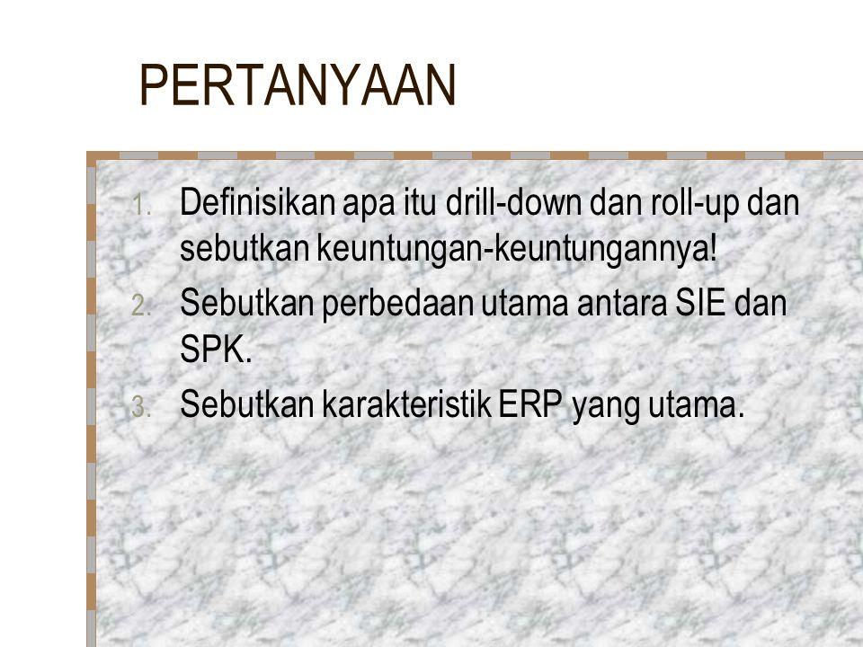 PERTANYAAN 1. Definisikan apa itu drill-down dan roll-up dan sebutkan keuntungan-keuntungannya! 2. Sebutkan perbedaan utama antara SIE dan SPK. 3. Seb