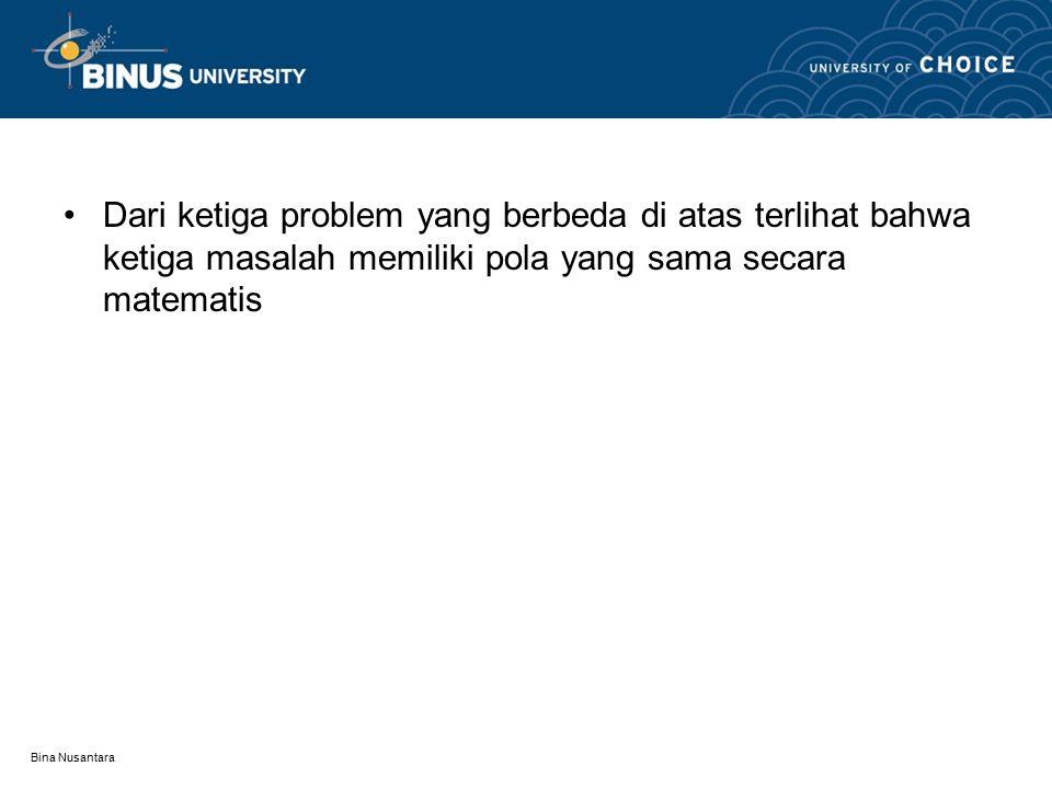 Bina Nusantara Dari ketiga problem yang berbeda di atas terlihat bahwa ketiga masalah memiliki pola yang sama secara matematis