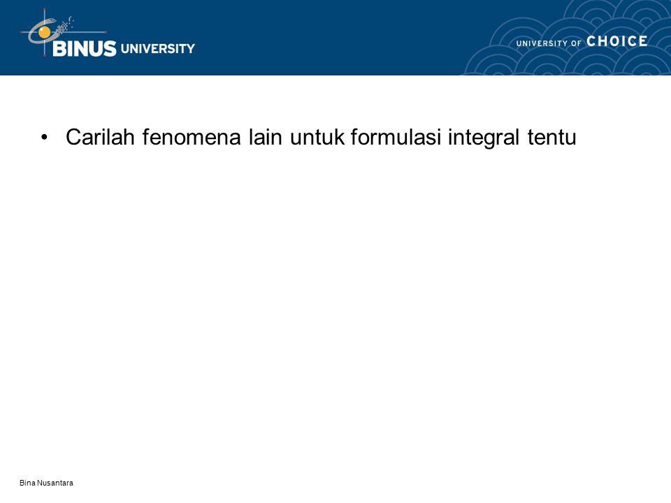 Bina Nusantara Carilah fenomena lain untuk formulasi integral tentu