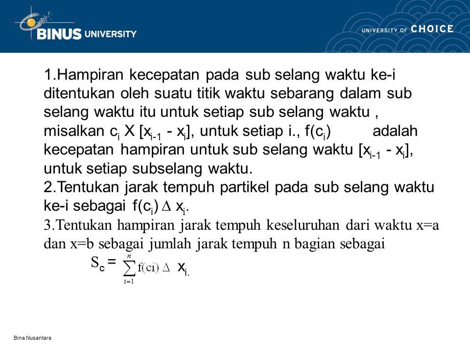 Bina Nusantara 1.Hampiran kecepatan pada sub selang waktu ke-i ditentukan oleh suatu titik waktu sebarang dalam sub selang waktu itu untuk setiap sub