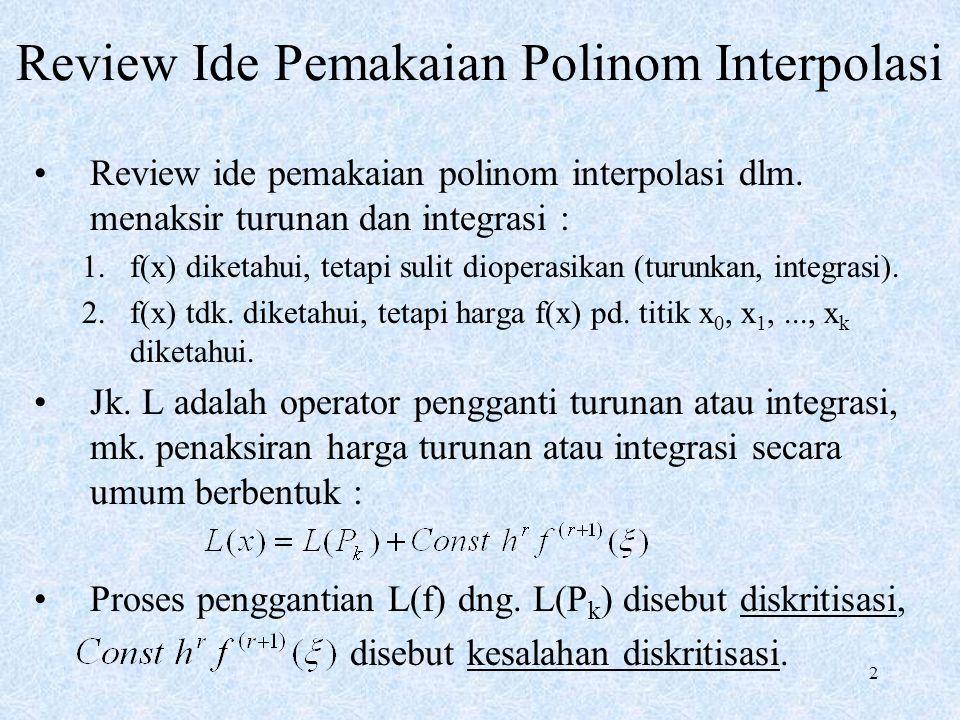 2 Review Ide Pemakaian Polinom Interpolasi Review ide pemakaian polinom interpolasi dlm. menaksir turunan dan integrasi : 1.f(x) diketahui, tetapi sul
