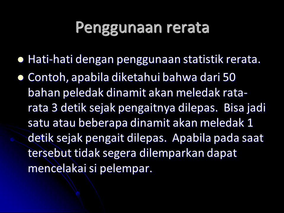 Penggunaan rerata Hati-hati dengan penggunaan statistik rerata. Hati-hati dengan penggunaan statistik rerata. Contoh, apabila diketahui bahwa dari 50