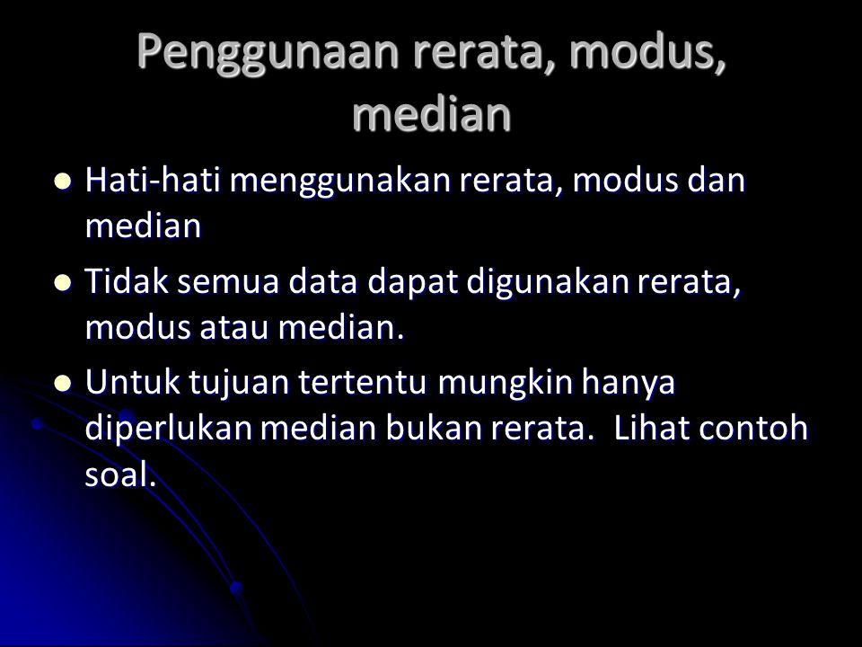Penggunaan rerata, modus, median Hati-hati menggunakan rerata, modus dan median Hati-hati menggunakan rerata, modus dan median Tidak semua data dapat