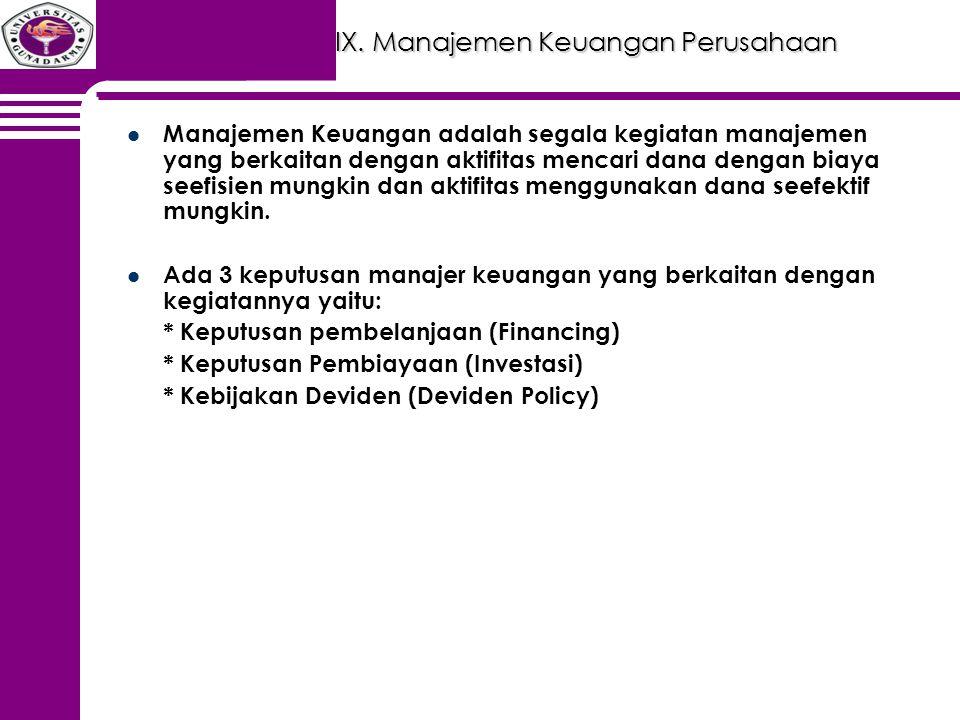 IX. Manajemen Keuangan Perusahaan Manajemen Keuangan adalah segala kegiatan manajemen yang berkaitan dengan aktifitas mencari dana dengan biaya seefis