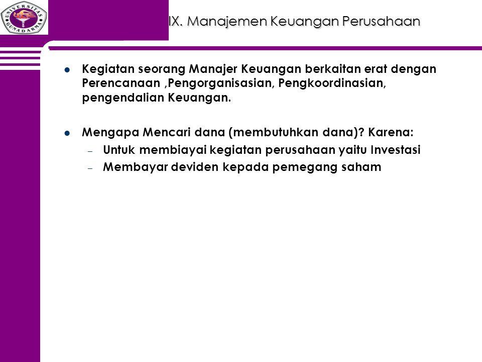 IX. Manajemen Keuangan Perusahaan Kegiatan seorang Manajer Keuangan berkaitan erat dengan Perencanaan,Pengorganisasian, Pengkoordinasian, pengendalian