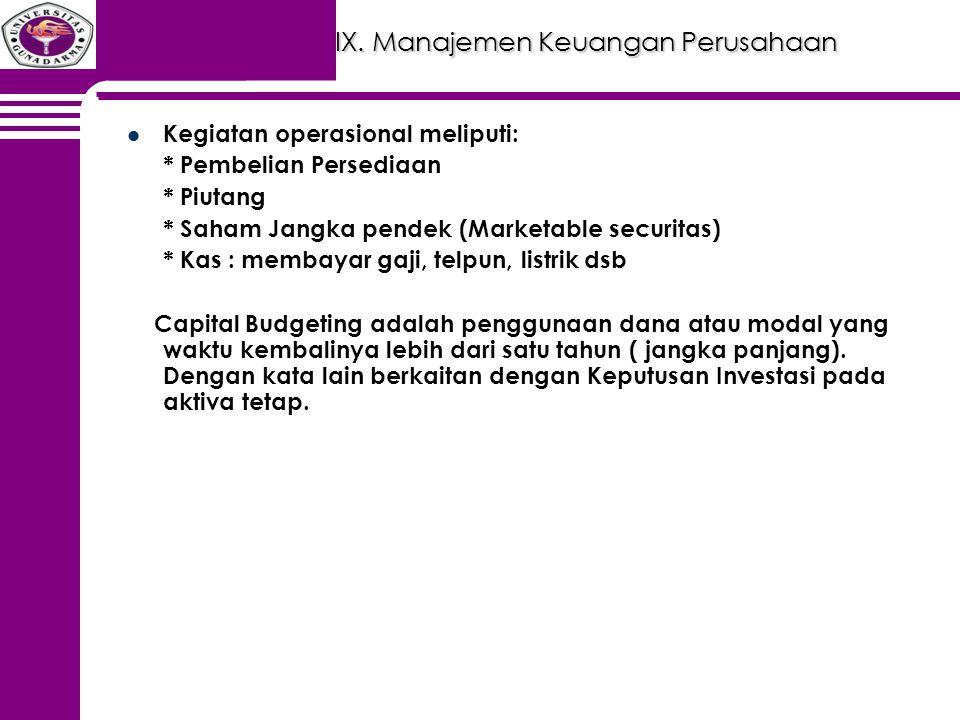 IX. Manajemen Keuangan Perusahaan Kegiatan operasional meliputi: * Pembelian Persediaan * Piutang * Saham Jangka pendek (Marketable securitas) * Kas :