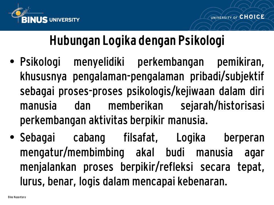 Hubungan Logika dengan Psikologi P sikologi menyelidiki perkembangan pemikiran, khususnya pengalaman-pengalaman pribadi/subjektif sebagai proses-proses psikologis/kejiwaan dalam diri manusia dan memberikan sejarah/historisasi perkembangan aktivitas berpikir manusia.