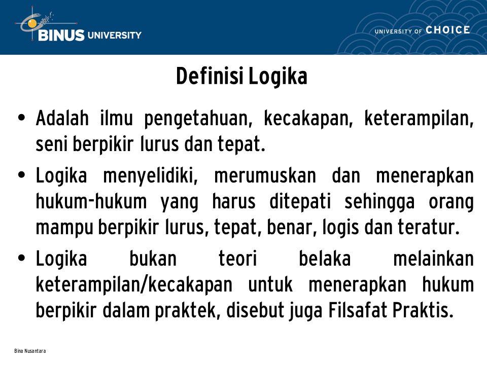 Bina Nusantara Definisi Logika A dalah ilmu pengetahuan, kecakapan, keterampilan, seni berpikir lurus dan tepat.