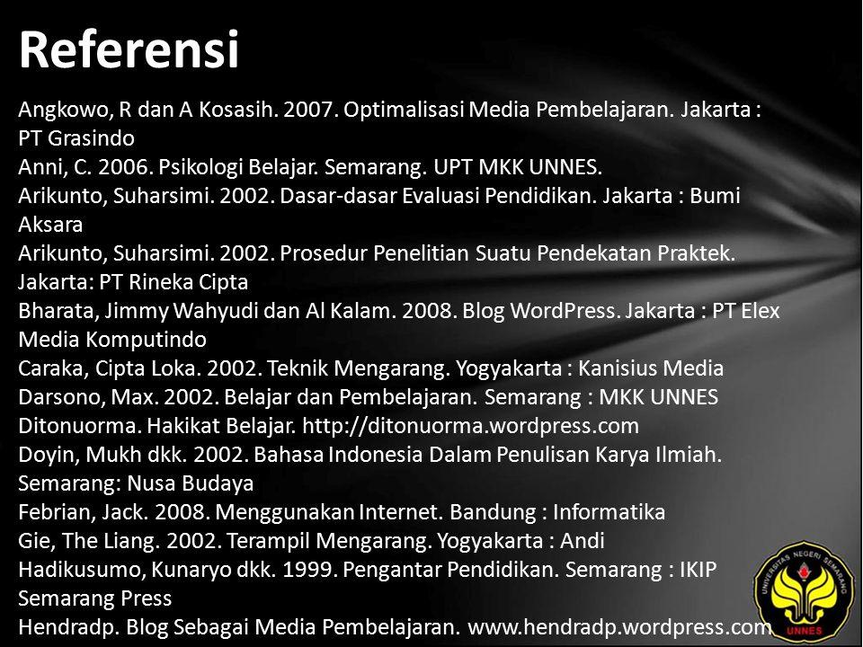 Referensi Angkowo, R dan A Kosasih. 2007. Optimalisasi Media Pembelajaran.