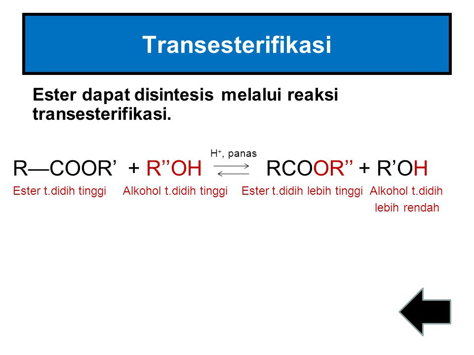Transesterifikasi Ester dapat disintesis melalui reaksi transesterifikasi. R—COOR' + R''OH RCOOR'' + R'OH Ester t.didih tinggi Alkohol t.didih tinggi