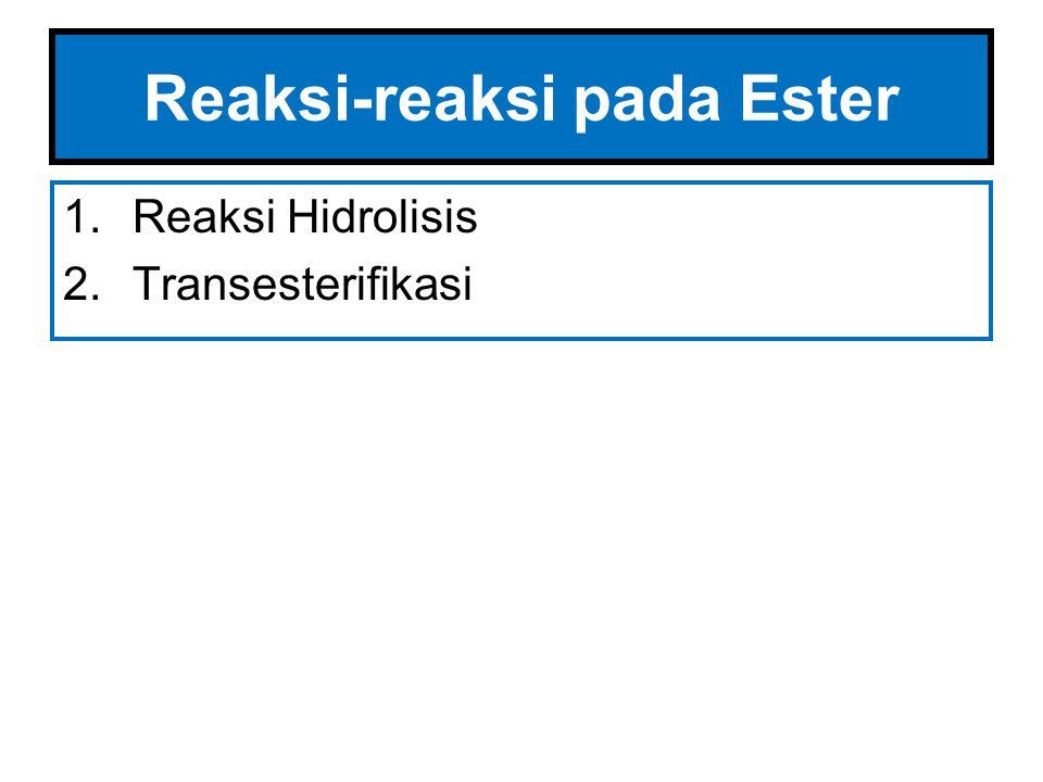 Hidrolisis Ester Esters dapat mengalami hidrolisis oleh basa seperti pada hidrolisis asam karboksilat.