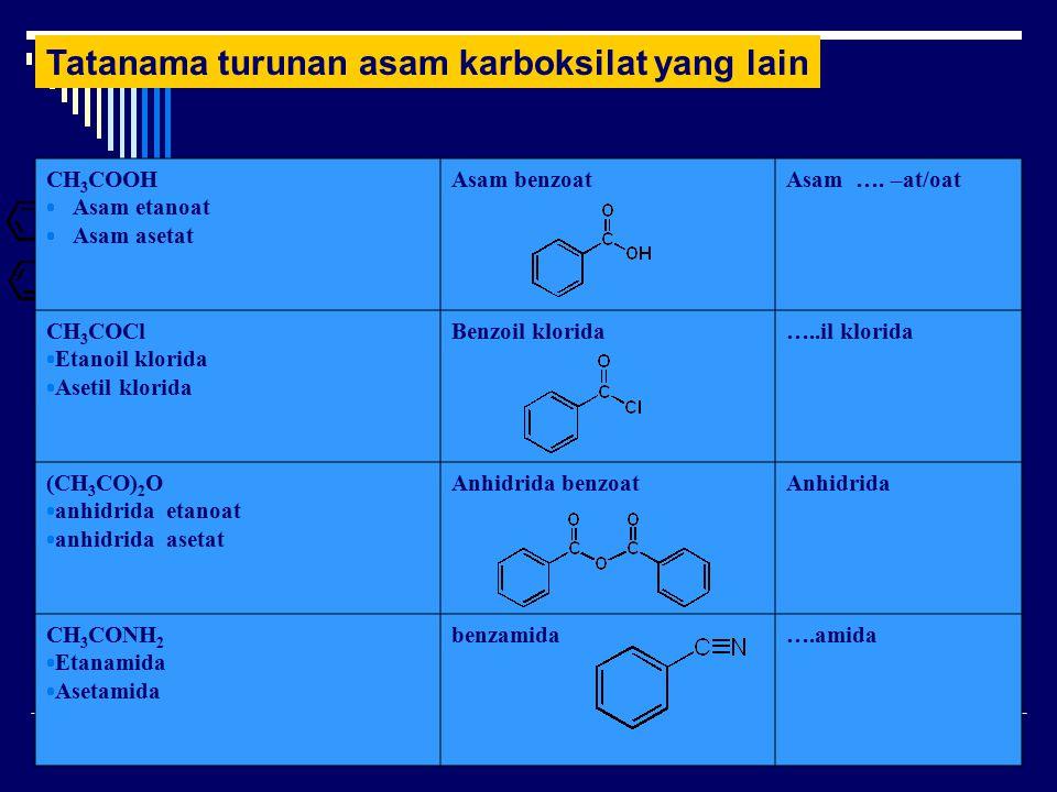 Tatanama turunan asam karboksilat yang lain CH 3 COOH  Asam etanoat  Asam asetat Asam benzoatAsam ….