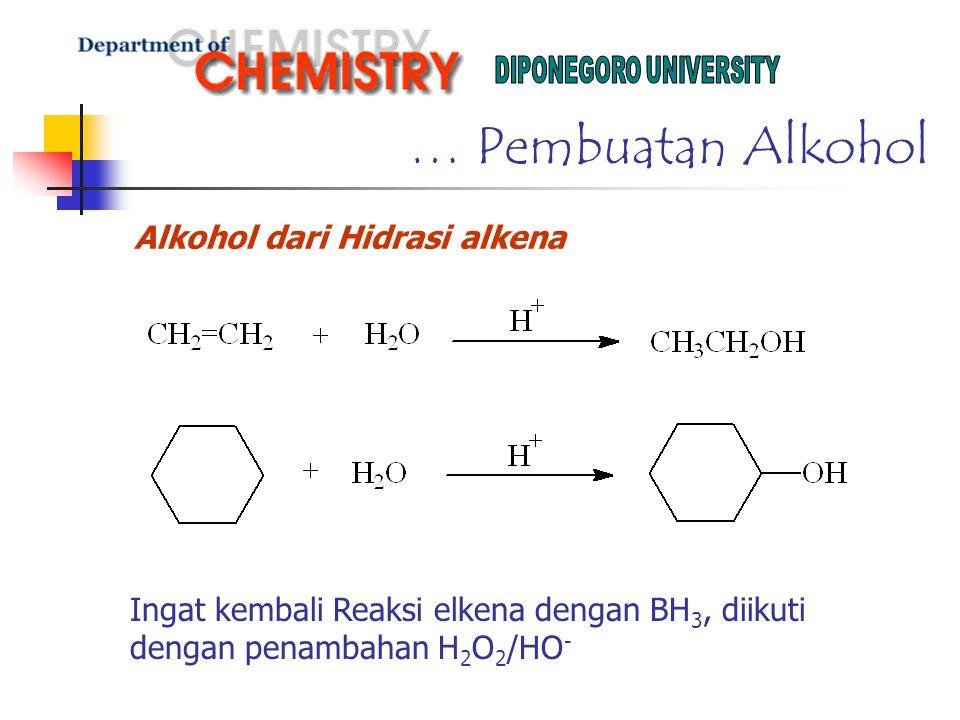 … Pembuatan Alkohol Alkohol dari Hidrasi alkena Ingat kembali Reaksi elkena dengan BH 3, diikuti dengan penambahan H 2 O 2 /HO -
