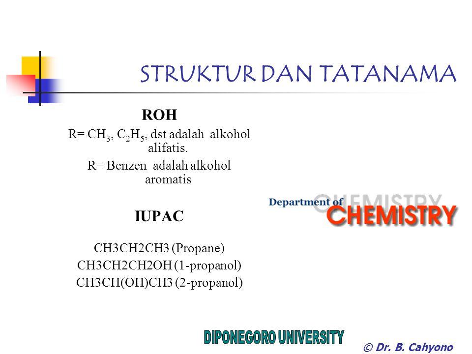 STRUKTUR DAN TATANAMA ROH R= CH 3, C 2 H 5, dst adalah alkohol alifatis.
