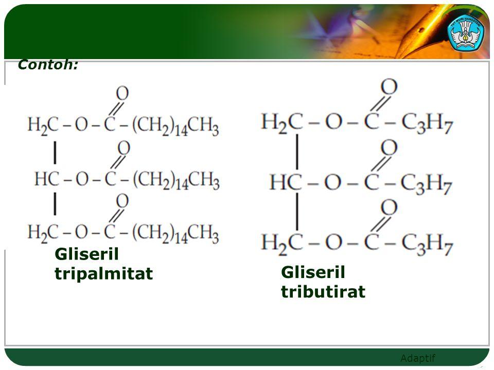 Adaptif  Gliserida campuran: jika gugus asamnya berbeda R 1  R 2  R 3 Gliseril + nama gugus asam (R1) + akhiran o + nama gugus asam (R2) + akhiran o + nama gugus asam (R3 )