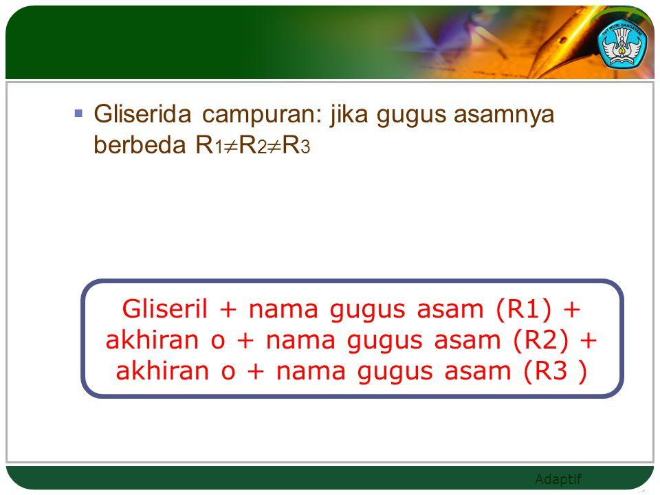 Adaptif c. Hidrogenasi Reaksi dengan H2(katalis Ni)