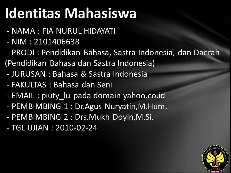 Identitas Mahasiswa - NAMA : FIA NURUL HIDAYATI - NIM : 2101406638 - PRODI : Pendidikan Bahasa, Sastra Indonesia, dan Daerah (Pendidikan Bahasa dan Sa