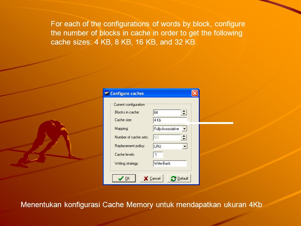 For each configuration obtain the miss rate using the memory trace: Ear.
