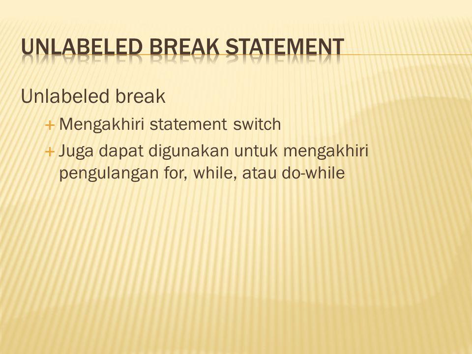 Unlabeled break  Mengakhiri statement switch  Juga dapat digunakan untuk mengakhiri pengulangan for, while, atau do-while