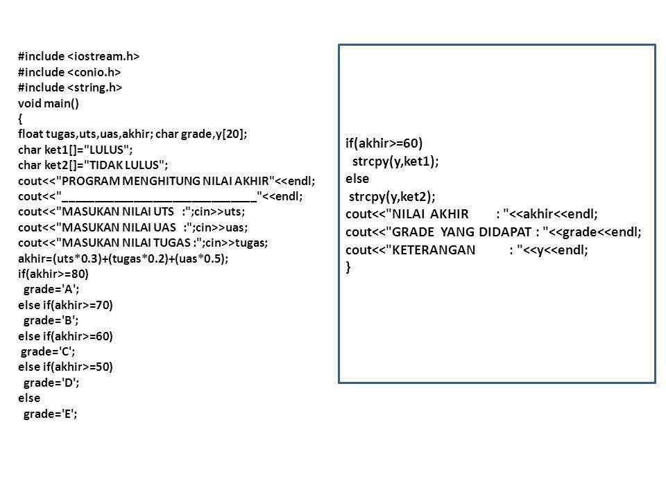 #include void main() { float tugas,uts,uas,akhir; char grade,y[20]; char ket1[]= LULUS ; char ket2[]= TIDAK LULUS ; cout<< PROGRAM MENGHITUNG NILAI AKHIR <<endl; cout<< ______________________________ <<endl; cout >uts; cout >uas; cout >tugas; akhir=(uts*0.3)+(tugas*0.2)+(uas*0.5); if(akhir>=80) grade= A ; else if(akhir>=70) grade= B ; else if(akhir>=60) grade= C ; else if(akhir>=50) grade= D ; else grade= E ; if(akhir>=60) strcpy(y,ket1); else strcpy(y,ket2); cout<< NILAI AKHIR : <<akhir<<endl; cout<< GRADE YANG DIDAPAT : <<grade<<endl; cout<< KETERANGAN : <<y<<endl; }