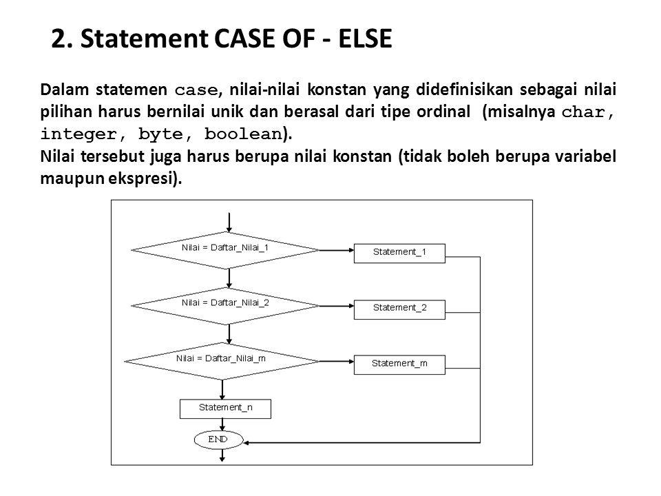 2. Statement CASE OF - ELSE Dalam statemen case, nilai-nilai konstan yang didefinisikan sebagai nilai pilihan harus bernilai unik dan berasal dari tip