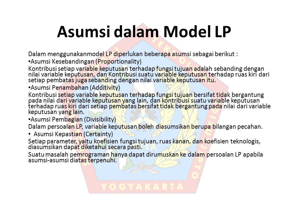 Asumsi dalam Model LP Dalam menggunakanmodel LP diperlukan beberapa asumsi sebagai berikut : Asumsi Kesebandingan (Proportionality) Kontribusi setiap