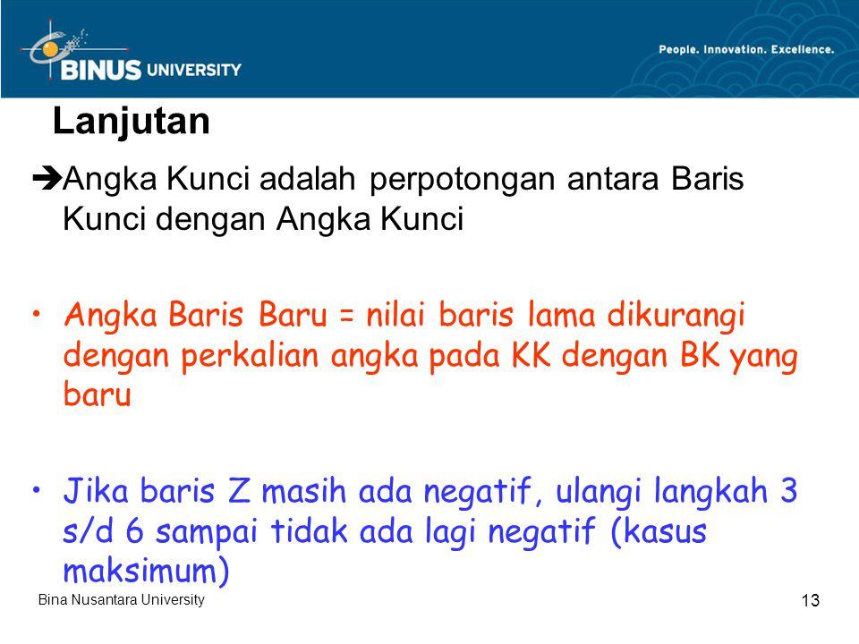 Lanjutan  Angka Kunci adalah perpotongan antara Baris Kunci dengan Angka Kunci Angka Baris Baru = nilai baris lama dikurangi dengan perkalian angka pada KK dengan BK yang baru Jika baris Z masih ada negatif, ulangi langkah 3 s/d 6 sampai tidak ada lagi negatif (kasus maksimum) Bina Nusantara University 13