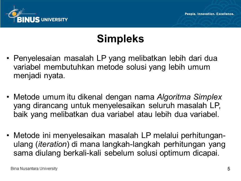 Penyelesaian masalah LP yang melibatkan lebih dari dua variabel membutuhkan metode solusi yang lebih umum menjadi nyata.