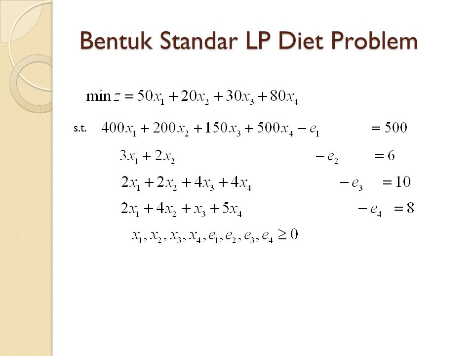 Bentuk Standar LP Diet Problem s.t.