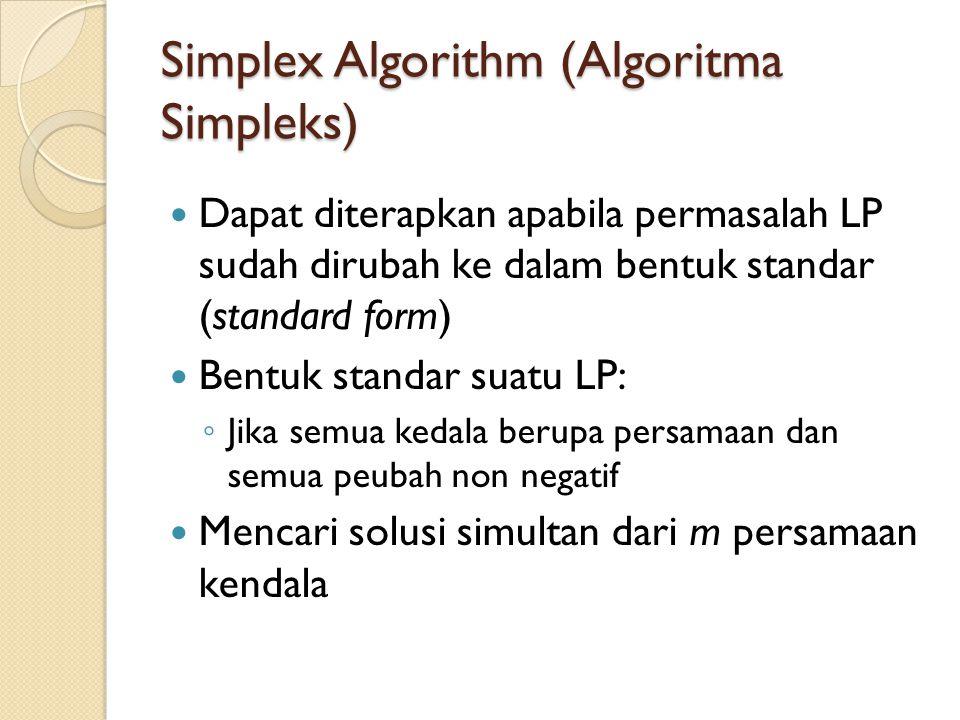 Simplex Algorithm (Algoritma Simpleks) Dapat diterapkan apabila permasalah LP sudah dirubah ke dalam bentuk standar (standard form) Bentuk standar suatu LP: ◦ Jika semua kedala berupa persamaan dan semua peubah non negatif Mencari solusi simultan dari m persamaan kendala
