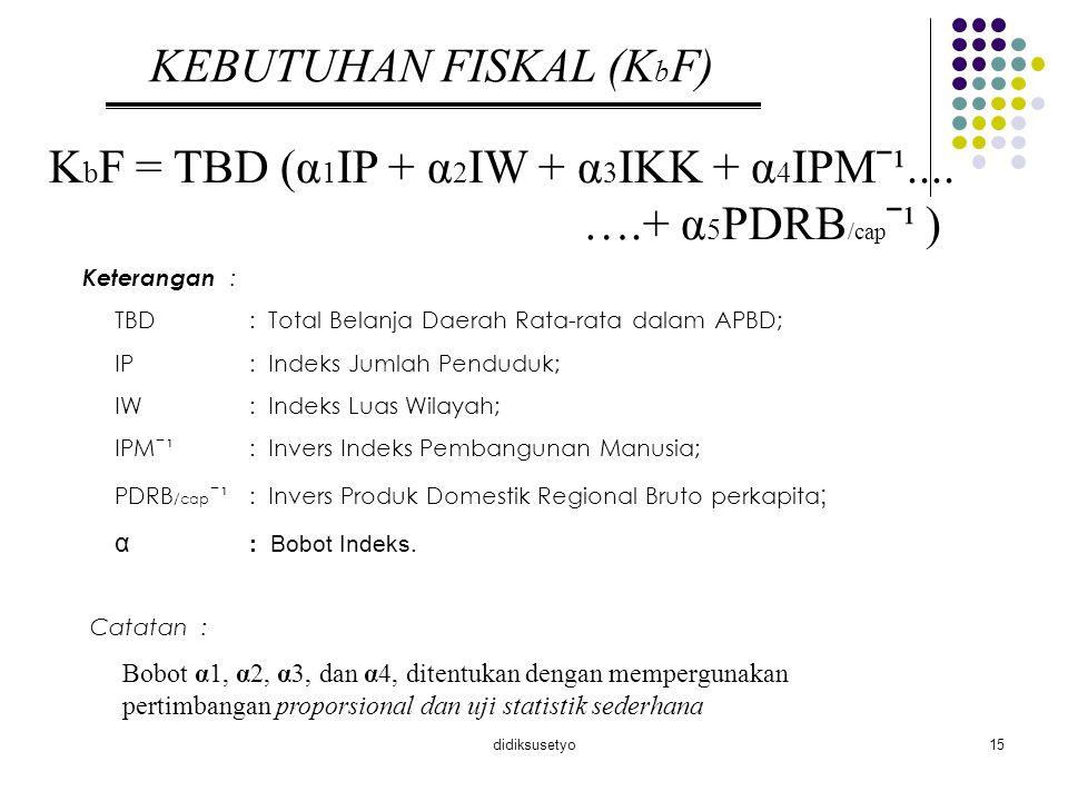 didiksusetyo15 KEBUTUHAN FISKAL (K b F) K b F = TBD (α 1 IP + α 2 IW + α 3 IKK + α 4 IPMˉ¹.... ….+ α 5 PDRB /cap ˉ¹ ) Keterangan : TBD: Total Belanja