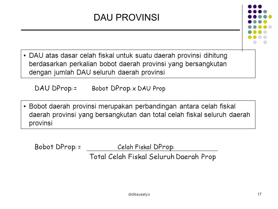 didiksusetyo17 DAU PROVINSI DAU atas dasar celah fiskal untuk suatu daerah provinsi dihitung berdasarkan perkalian bobot daerah provinsi yang bersangk