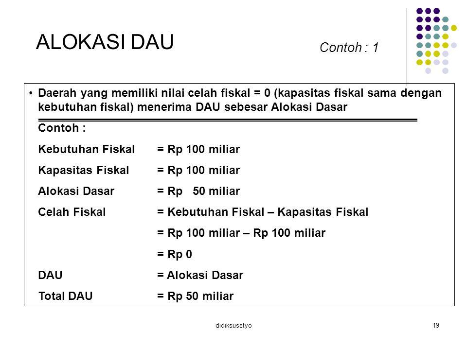 didiksusetyo19 ALOKASI DAU Contoh : 1 Daerah yang memiliki nilai celah fiskal = 0 (kapasitas fiskal sama dengan kebutuhan fiskal) menerima DAU sebesar