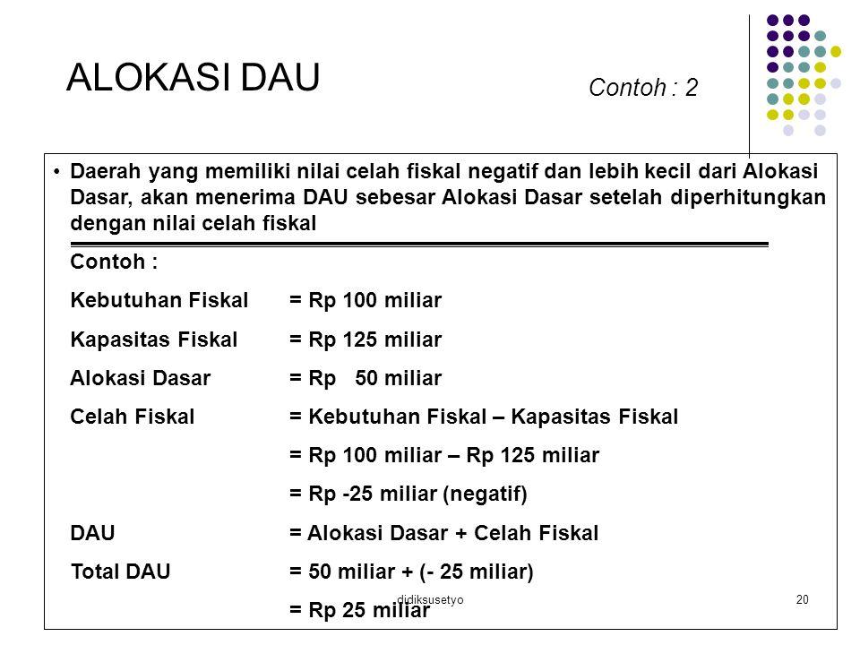 didiksusetyo20 ALOKASI DAU Contoh : 2 Daerah yang memiliki nilai celah fiskal negatif dan lebih kecil dari Alokasi Dasar, akan menerima DAU sebesar Al