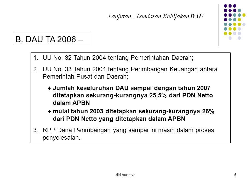 didiksusetyo6 B. DAU TA 2006 – 1.UU No. 32 Tahun 2004 tentang Pemerintahan Daerah; 2.UU No. 33 Tahun 2004 tentang Perimbangan Keuangan antara Pemerint