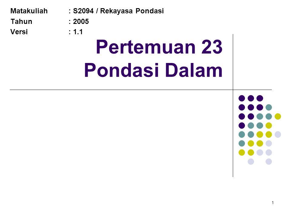 1 Pertemuan 23 Pondasi Dalam Matakuliah: S2094 / Rekayasa Pondasi Tahun: 2005 Versi: 1.1