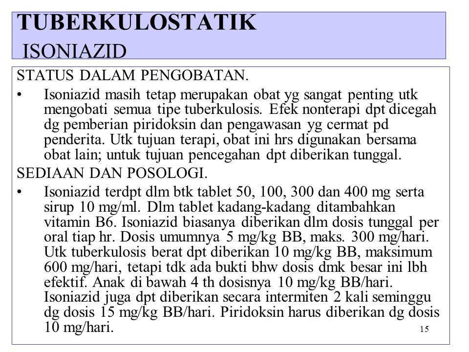 15 STATUS DALAM PENGOBATAN. Isoniazid masih tetap merupakan obat yg sangat penting utk mengobati semua tipe tuberkulosis. Efek nonterapi dpt dicegah d