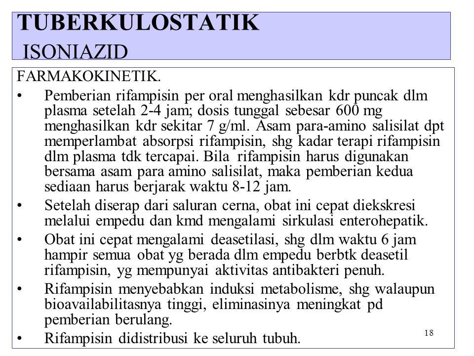 18 FARMAKOKINETIK. Pemberian rifampisin per oral menghasilkan kdr puncak dlm plasma setelah 2-4 jam; dosis tunggal sebesar 600 mg menghasilkan kdr sek