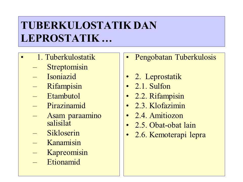 3 TUBERKULOSTATIK DAN LEPROSTATIK … 1. Tuberkulostatik –Streptomisin –Isoniazid –Rifampisin –Etambutol –Pirazinamid –Asam paraamino salisilat –Siklose