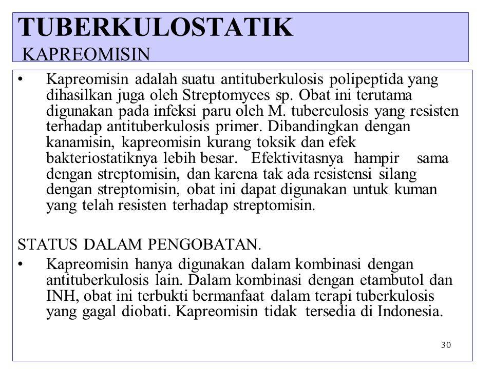 30 Kapreomisin adalah suatu antituberkulosis polipeptida yang dihasilkan juga oleh Streptomyces sp. Obat ini terutama digunakan pada infeksi paru oleh