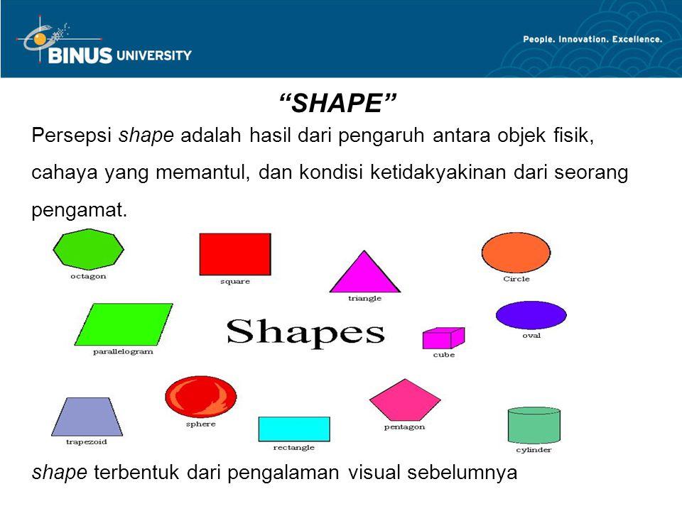 Persepsi shape adalah hasil dari pengaruh antara objek fisik, cahaya yang memantul, dan kondisi ketidakyakinan dari seorang pengamat. shape terbentuk