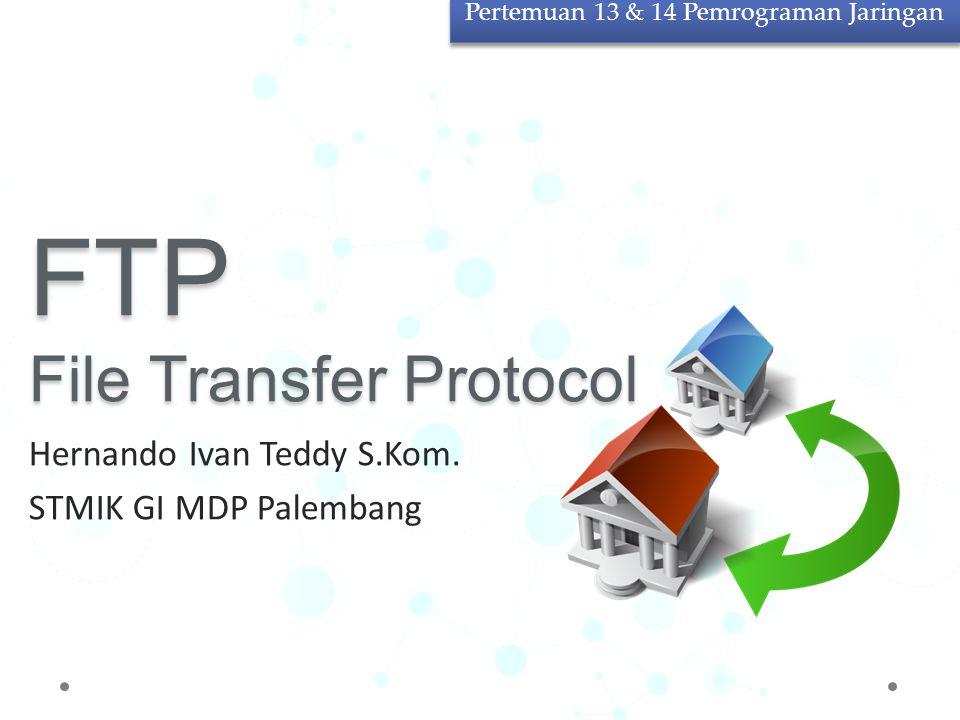 File Transfer Protocol Sebuah protokol Internet yang berjalan di dalam lapisan aplikasi Merupakan standar untuk pentransferan berkas (file) komputer antar mesin-mesin dalam sebuah internetwork.