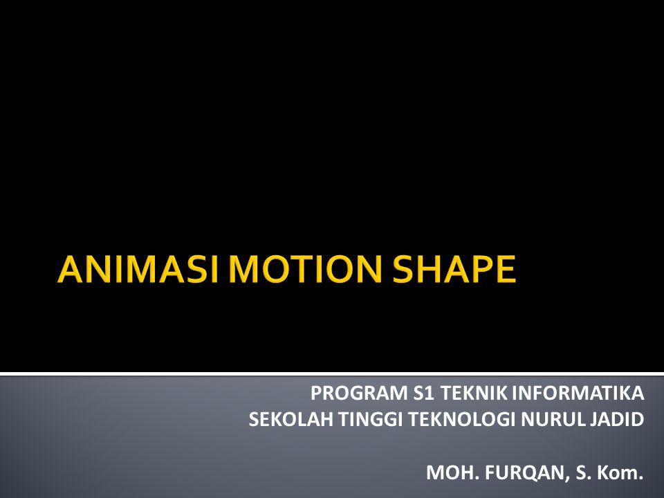  Animasi Motion Shape (bentuk) dibedakan menjadi 2 bagian yaitu: 1.