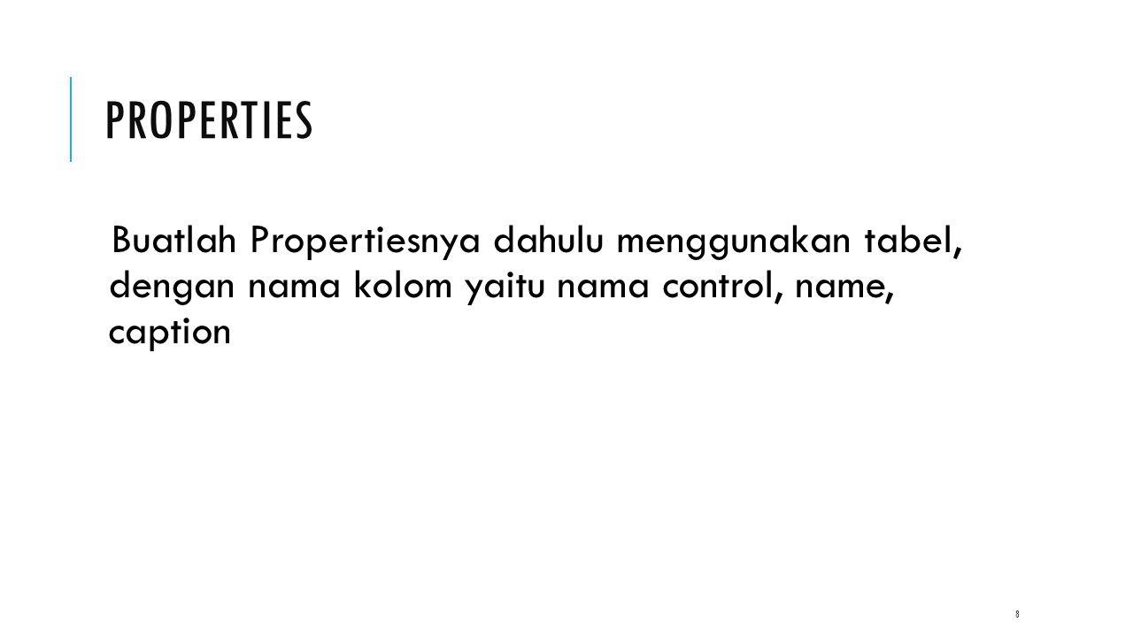 PROPERTIES Buatlah Propertiesnya dahulu menggunakan tabel, dengan nama kolom yaitu nama control, name, caption 8