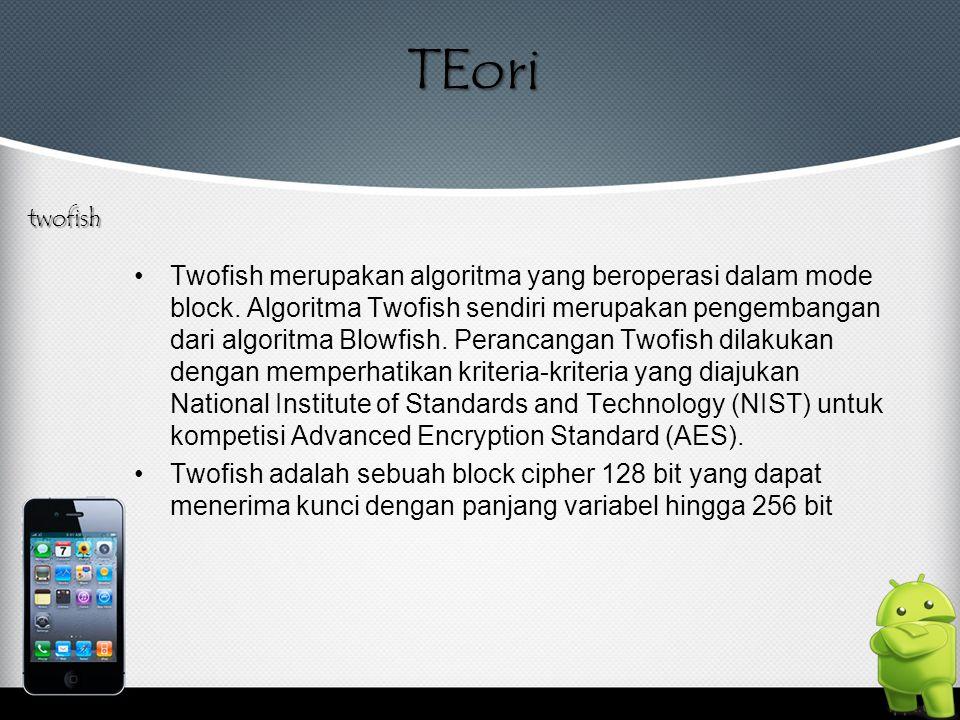 TEori Twofish merupakan algoritma yang beroperasi dalam mode block. Algoritma Twofish sendiri merupakan pengembangan dari algoritma Blowfish. Perancan