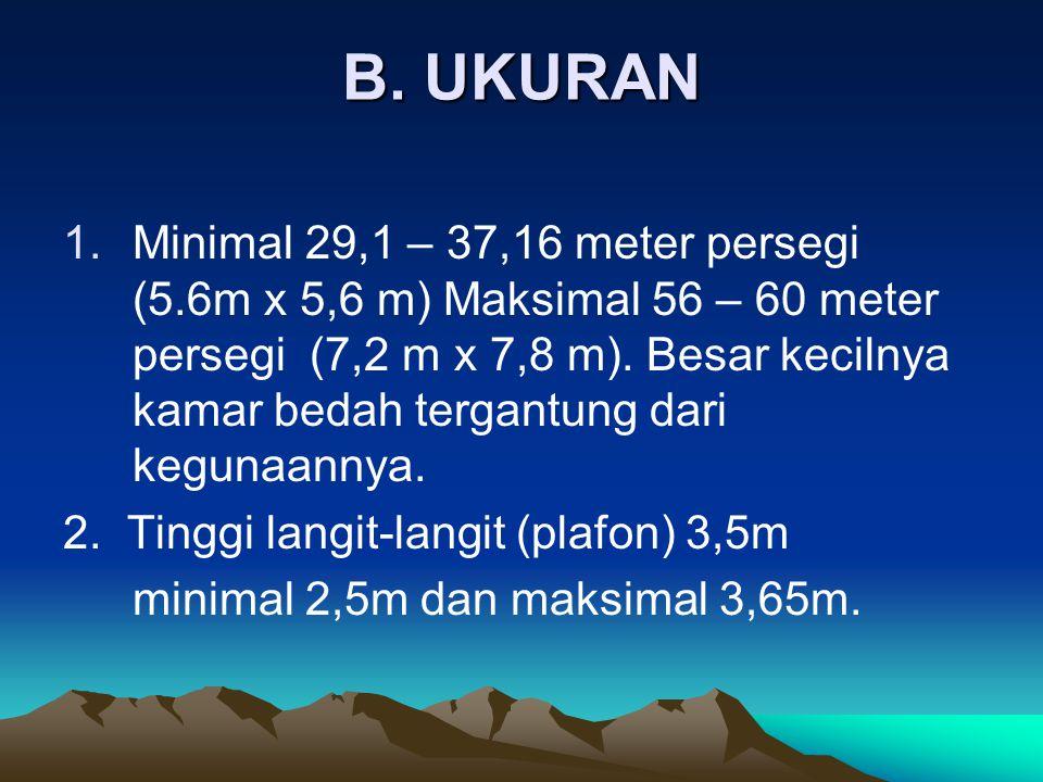 B. UKURAN 1.Minimal 29,1 – 37,16 meter persegi (5.6m x 5,6 m) Maksimal 56 – 60 meter persegi (7,2 m x 7,8 m). Besar kecilnya kamar bedah tergantung da